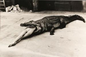 Helmut Newton, Crocodile Eating Ballerina from Pina Bausch's ballet 1983